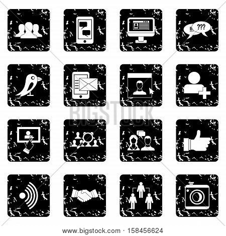 Social network icons set icons in grunge style isolated on white background. Vector illustration