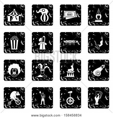 Circus entertainment icons set icons in grunge style isolated on white background. Vector illustration