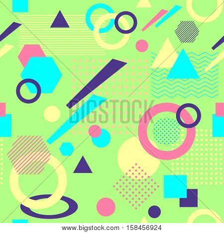 Abstract seamless pattern from geometric form in postmodern Memphis Style on light green background for wallpaper or package or for clothes for decoration childish school subject or for creative design