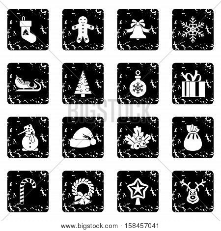 Christmas icons set icons in grunge style isolated on white background. Vector illustration