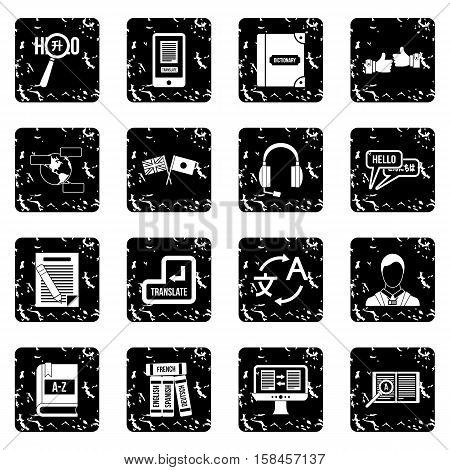 Learning foreign languages icons set icons in grunge style isolated on white background. Vector illustration