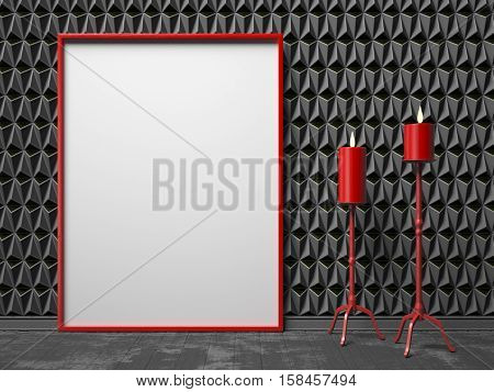 Blank picture frame and two red candlestick on black triangulated background. Mock up render illustration
