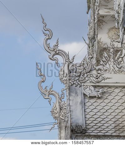 Famous white temple Wat Rong Khun Chiang Rai province northern Thailand/ Chiang Rai province northern Thailand - November 13 2016 : White temple Wat Rong Khun