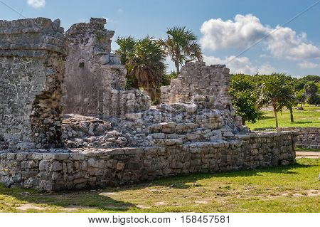 Ancient Ruins at Tulum Mexico Falling Structure