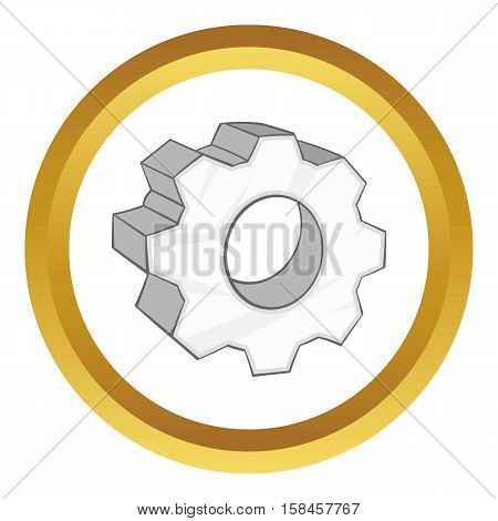 Gear vector icon in golden circle, cartoon style isolated on white background