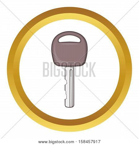Car key vector icon in golden circle, cartoon style isolated on white background