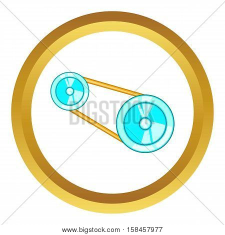 Timing belt vector icon in golden circle, cartoon style isolated on white background