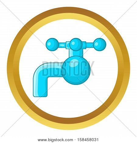 Water tap with knob vector icon in golden circle, cartoon style isolated on white background