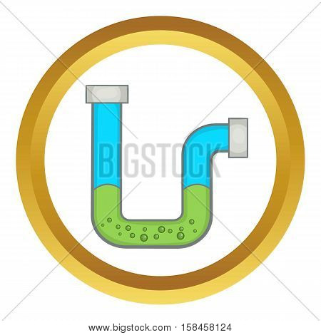 Clog in the pipe vector icon in golden circle, cartoon style isolated on white background
