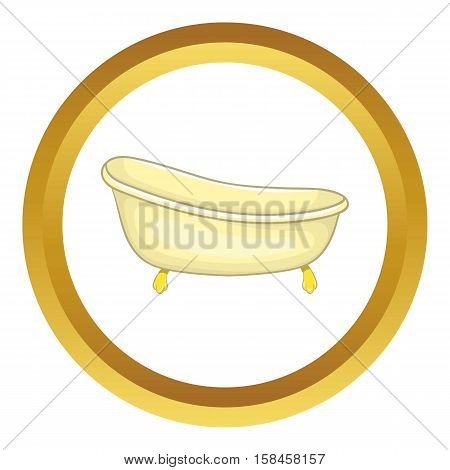 Bathtub vector icon in golden circle, cartoon style isolated on white background