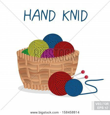 Wicker Basket. Ball Of Yarn. Knitting. Making Hands. For Your Design.