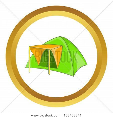 Green tent vector icon in golden circle, cartoon style isolated on white background