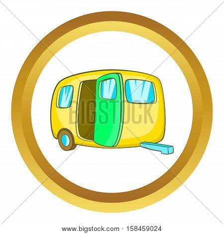 Yelllow camping trailer vector icon in golden circle, cartoon style isolated on white background