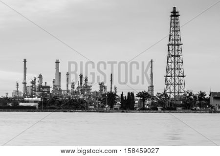 Black and White, Oil refinery river front, industrial background