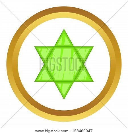 Star of David vector icon in golden circle, cartoon style isolated on white background