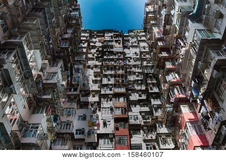 Hong Kong city apartment crowded residence area