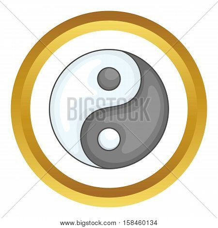 Ying yang vector icon in golden circle, cartoon style isolated on white background