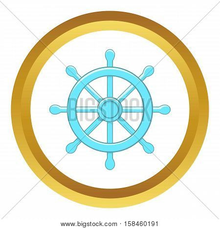 Wheel of Dharma vector icon in golden circle, cartoon style isolated on white background