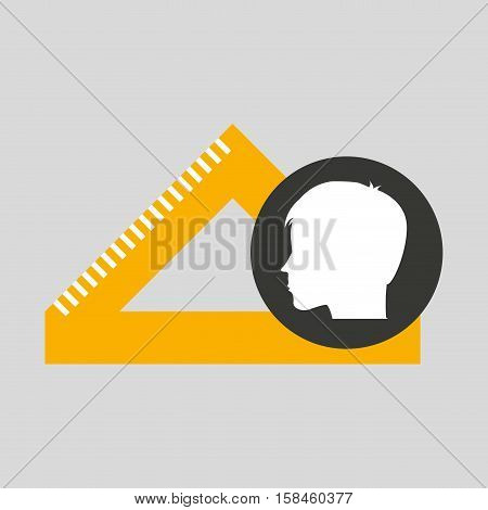 silhouette head boy student geometry vector illustration eps 10