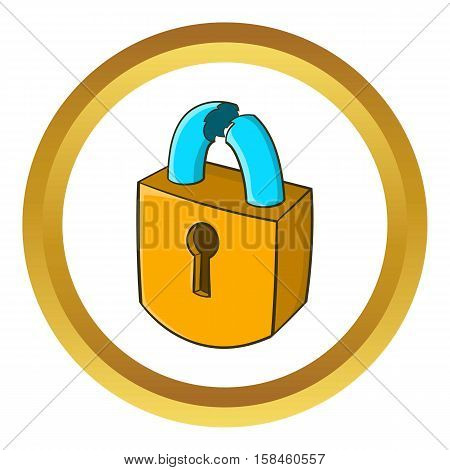 Padlock which is broken vector icon in golden circle, cartoon style isolated on white background