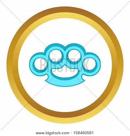 Brass knuckles vector icon in golden circle, cartoon style isolated on white background