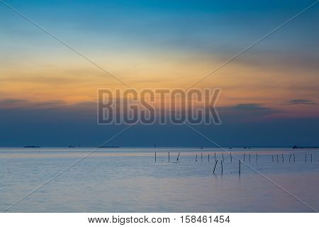 Beautiful sunset sky over the seacoast natural landscape background