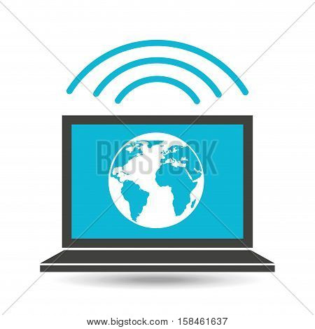 social media laptop global map vector illustration eps 10