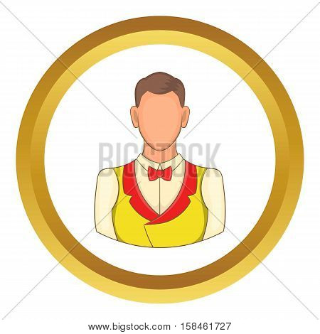 Croupier vector icon in golden circle, cartoon style isolated on white background
