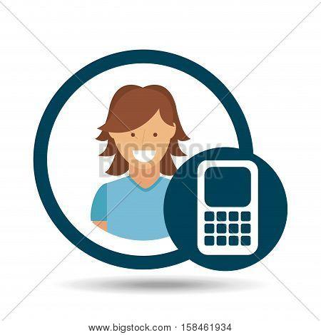 character girl calculator social media concept vector illustration eps 10