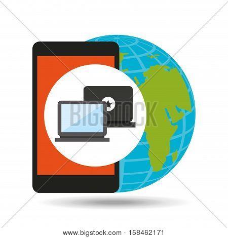global device digital social network vector illustration eps 10