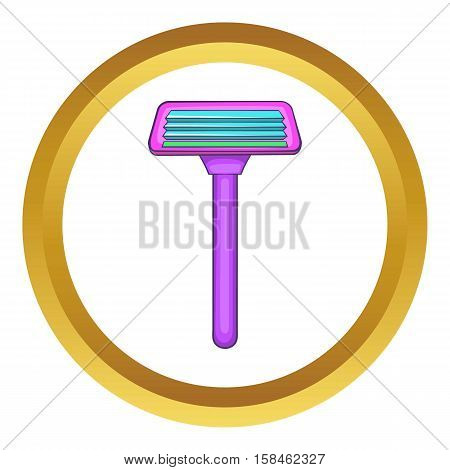Razor vector icon in golden circle, cartoon style isolated on white background