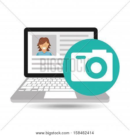 laptop social profile camera icon vector illustration eps 10