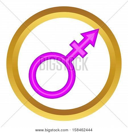Transgender sign vector icon in golden circle, cartoon style isolated on white background