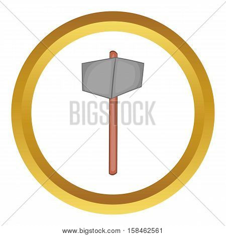Sledgehammer vector icon in golden circle, cartoon style isolated on white background