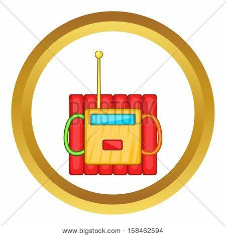 Dynamite explosives vector icon in golden circle, cartoon style isolated on white background