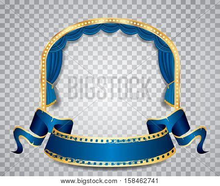 vector ellipse stage with blue curtain, golden frame, bulb lamps blank grunge banner and transparent shadow