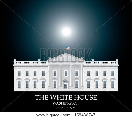 detailed vector drawing of the White house facade on black background with moonlight