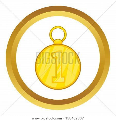 First position cold medal vector icon in golden circle, cartoon style isolated on white background