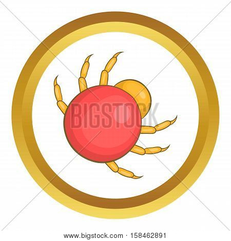 Mite parasite vector icon in golden circle, cartoon style isolated on white background
