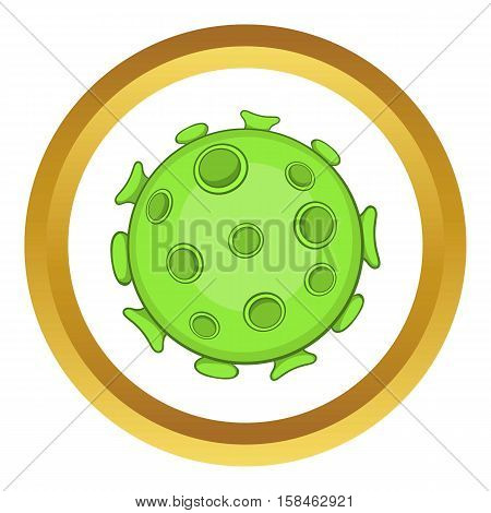 Bacteria or virus vector icon in golden circle, cartoon style isolated on white background