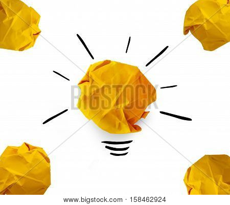 creative idea.Concept idea and innovation with paper on white background