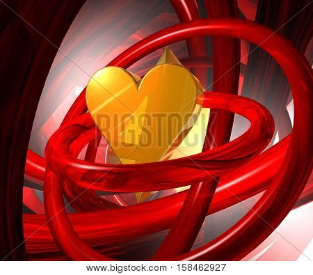 heart symbol in abstract futuristic space - 3d rendering
