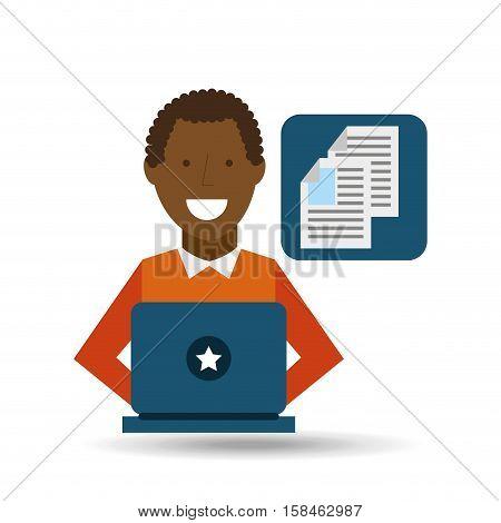 man afroamerican using laptop document media icon vector illustration eps 10