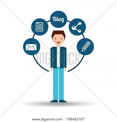 young man standing with social network icon vector illustration eps 10