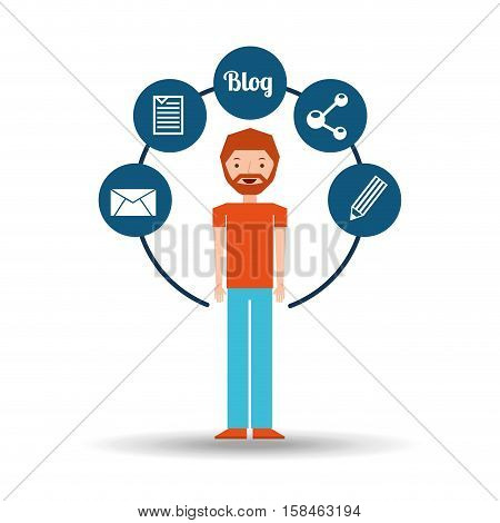 man bearded standing with social network icon vector illustration eps 10