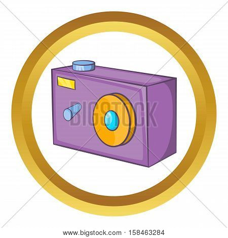 Camera vector icon in golden circle, cartoon style isolated on white background