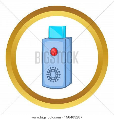 USB flash drive vector icon in golden circle, cartoon style isolated on white background