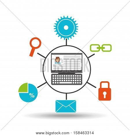 laptop profile technology social media concept vector illustration eps 10