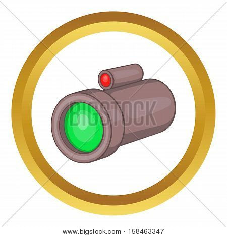 Sniper rifle telescope scope glass lens vector icon in golden circle, cartoon style isolated on white background