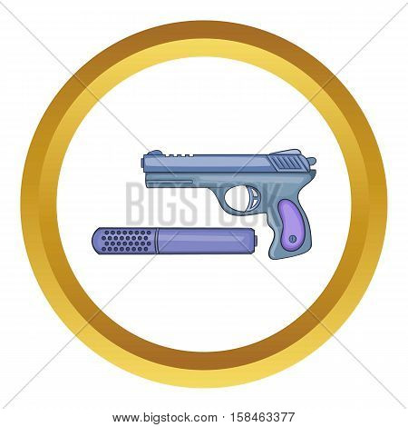 Pistol and silencer vector icon in golden circle, cartoon style isolated on white background